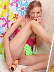 Showering teenager