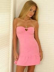 Blonde teen Rachel looking great in this pink dress