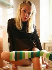 Perfect blonde puffy nipples teen in socks