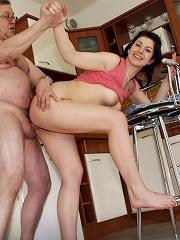 Teen maid gets senior cock inside